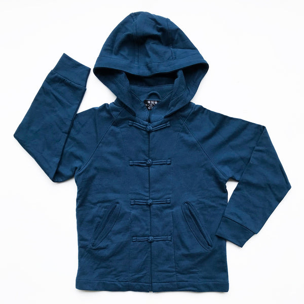 Chinese Collar Hooded Kids Jacket, Navy Blue