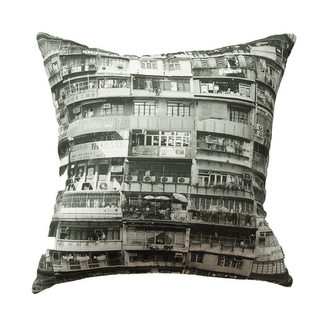 'Yaumati' black and white cushion cover (80 x 80 cm)