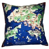 HK Map Cushion Cover, Red (45 x 45 cm)