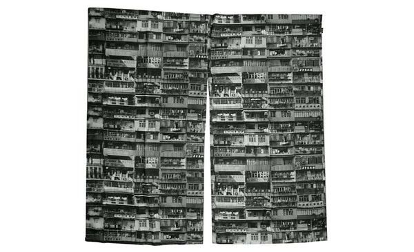 'Yaumati' door curtain 90 x 90 (black and white)