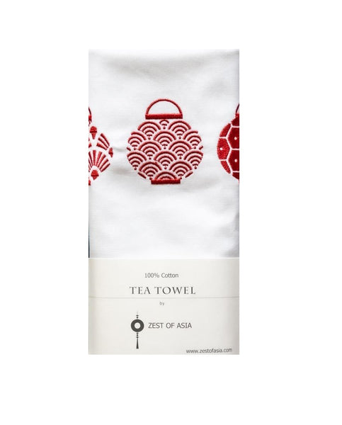 Red Trio Lanterns Set Tea Towel by Zest of Asia