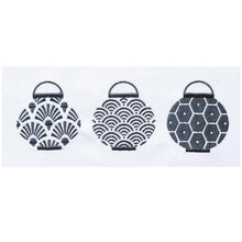 Load image into Gallery viewer, Grey Trio Lanterns Set Tea Towel by Zest of Asia
