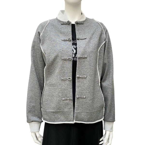 Ladies Jersey Chinese Button Jacket, Light Grey