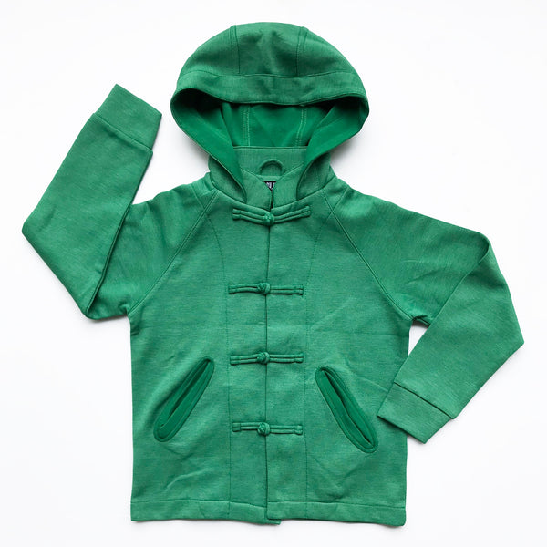 Chinese Collar Hooded Kids Jacket, Green