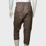 3D cropped Chinese pants (brown plaids)