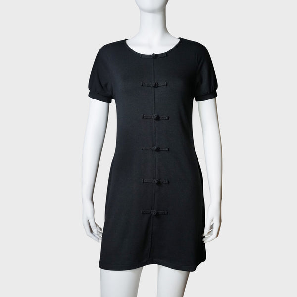 Chinese Buttons crew neck dress (Black) | Goods of Desire