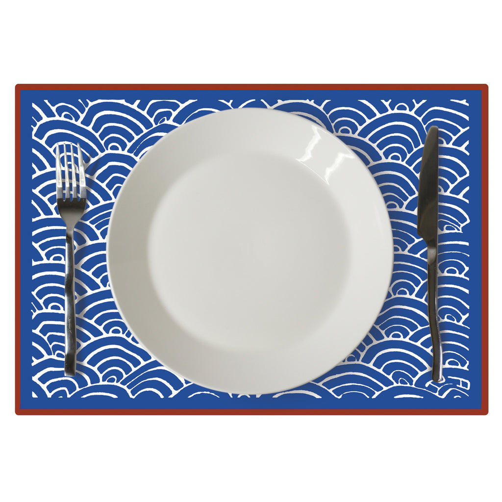 'Waves' placemat (red/blue)