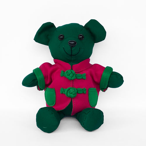 Bear with Fuchsia Chinese Jacket, Green