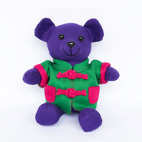 Bear with Green Chinese Jacket, Purple