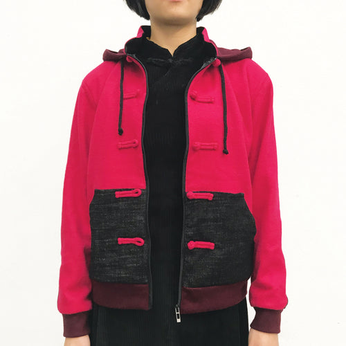Chinese Hooded Jacket, Fuchsia Combo