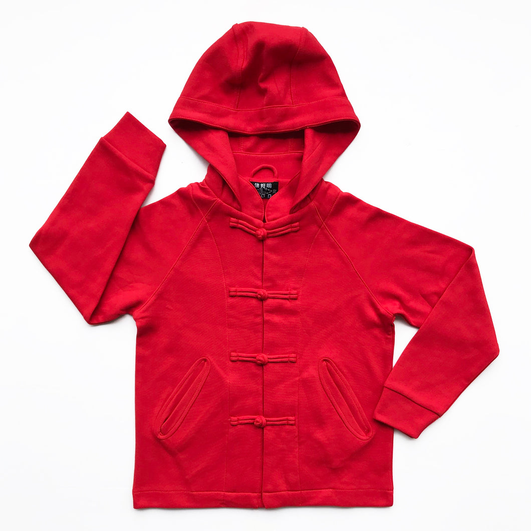 Kids Knot Button Hoodie, Fire Brick Red