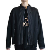 Textured Zip Jacket with Leather Trim,Black