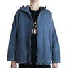 Hooded Zip Jacket with Leather Trim, Washed Denim