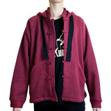 Chinese Collar Hooded Fleece Jacket, Dark Red
