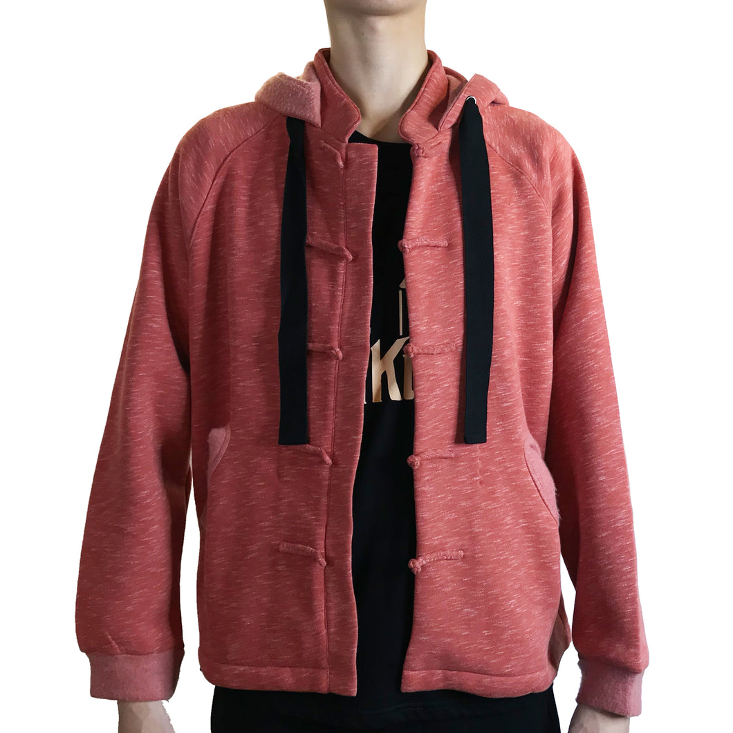 Chinese Collar Hooded Fleece Jacket, Brick Red