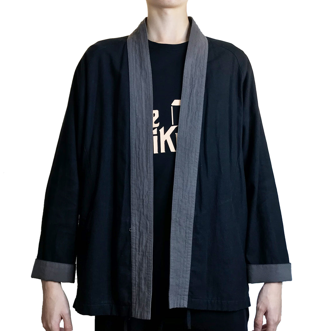 Kimono Jacket with 5 Lines Lapel, Black