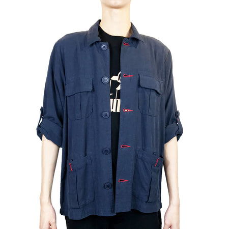 Handcrafted Buttons Top with Pocket, Slub Navy