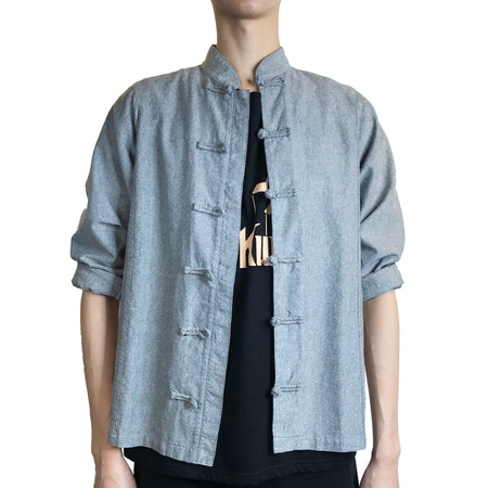 Chinese/Snap Buttons Shirt Jacket, Blue Camo