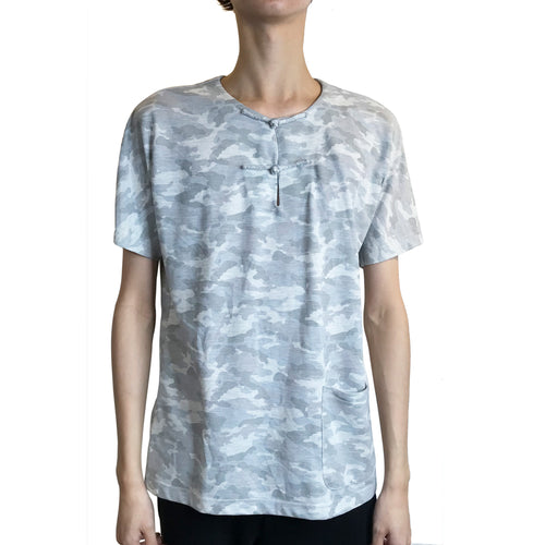 Handcrafted Buttons Top with Pocket, Grey Camouflage