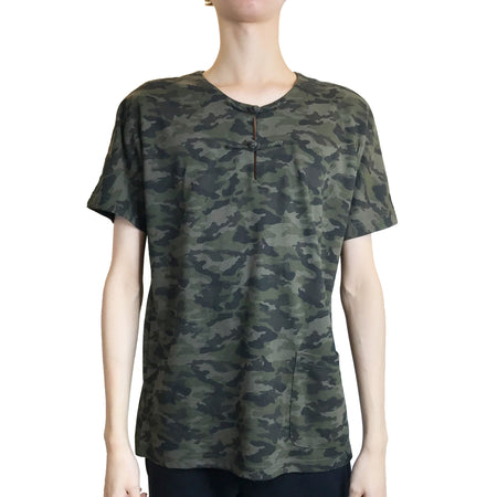 Handcrafted Buttons Top with Pocket, Army Green