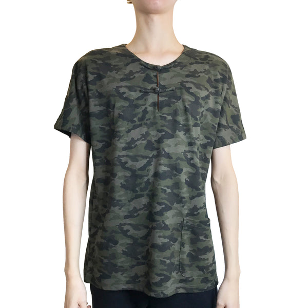 Handcrafted Buttons Top with Pocket, Green Camouflage