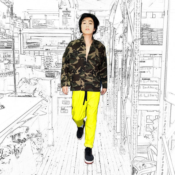 Chinese/Snap Buttons Shirt Jacket, Green Camo