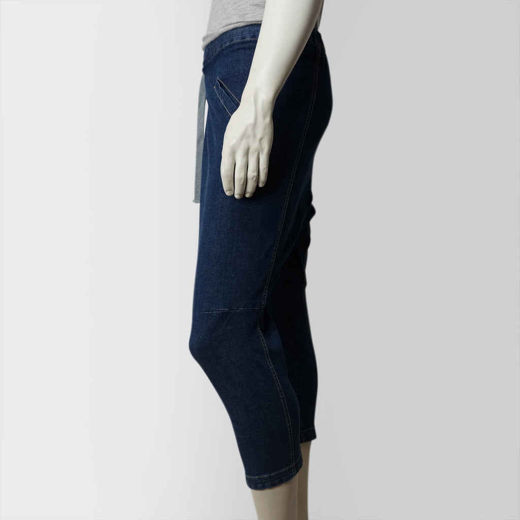 3D cropped Chinese pants (denim blue)
