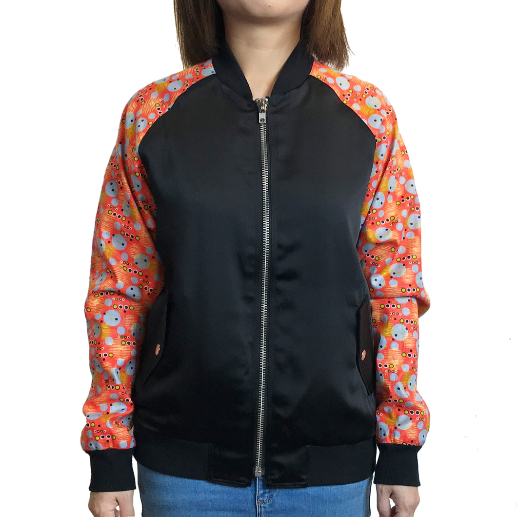 Java Fabric Sleeves Bomber Jacket, Orange