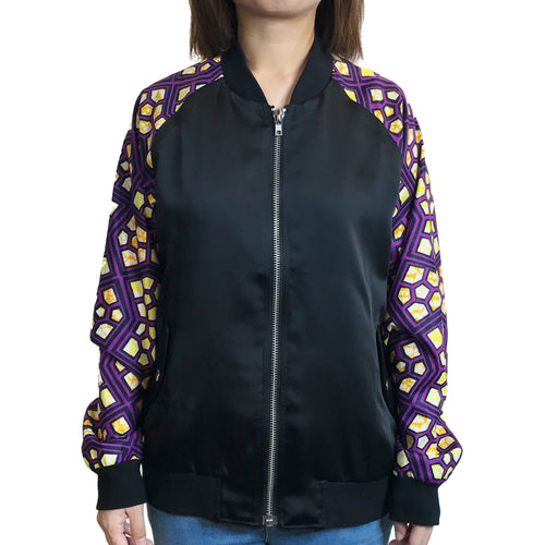 Java Fabric Sleeves Bomber Jacket, Purple
