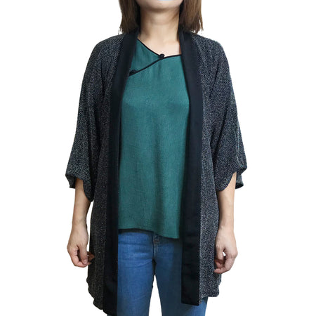 Cold Shoulder Mui Jai Top, Black/Pokka Dot