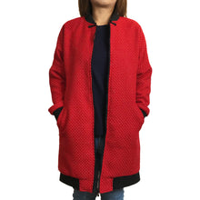 Load image into Gallery viewer, Chinese Zip Long Jacket, Red Weave