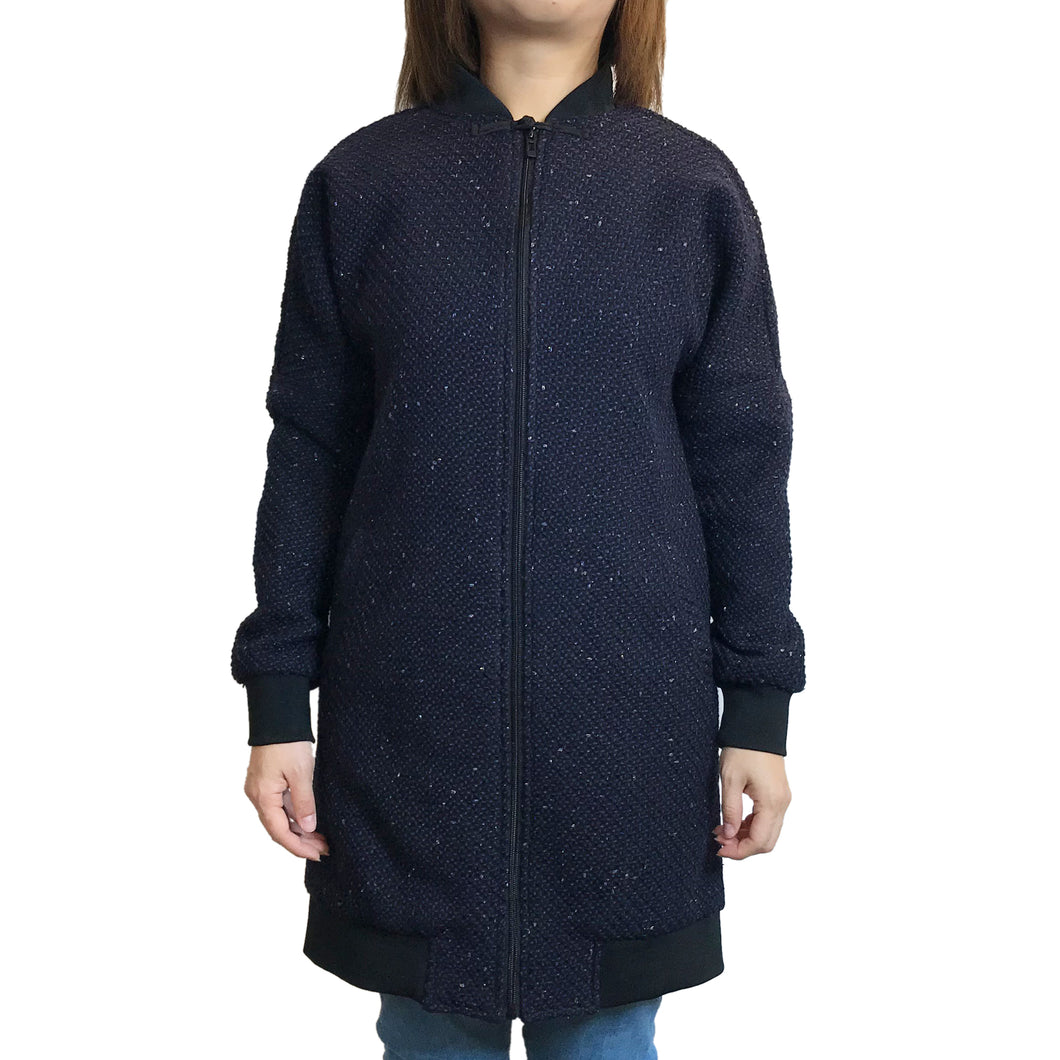 Chinese Zip Long Jacket, Navy Weave
