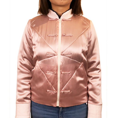 Padded Chinese Buttons Zip Jacket, Pink