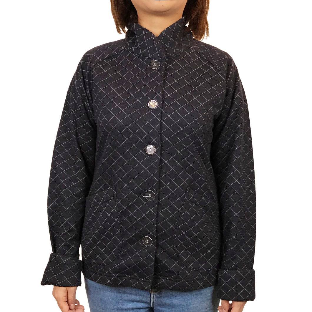 'Waffle Quilted' Chinese Sung Jacket, Black