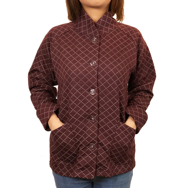 'Waffle Quilted' Chinese Sung Jacket, Red
