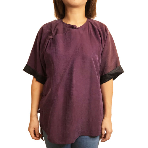 Round Neck Silk Cropped Cheongsam, Cracked Purple