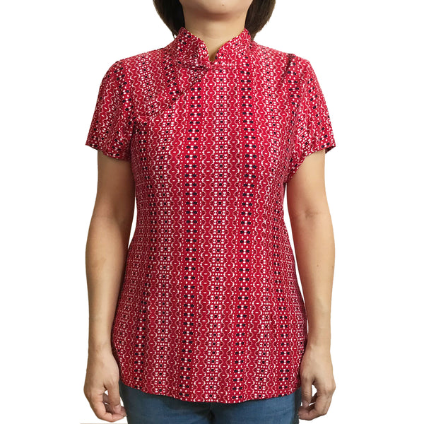 Printed Jersey Mui Jai Top, Red Lace