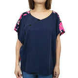 Wing Top with 3 Chinese Buttons, Navy/Floral