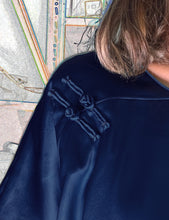 Load image into Gallery viewer, Silk Top with Two Chinese Buttons, Navy