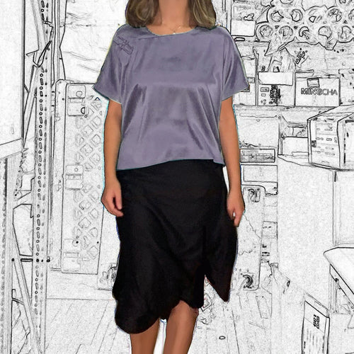 Silk Top with Two Chinese Buttons, Lilac