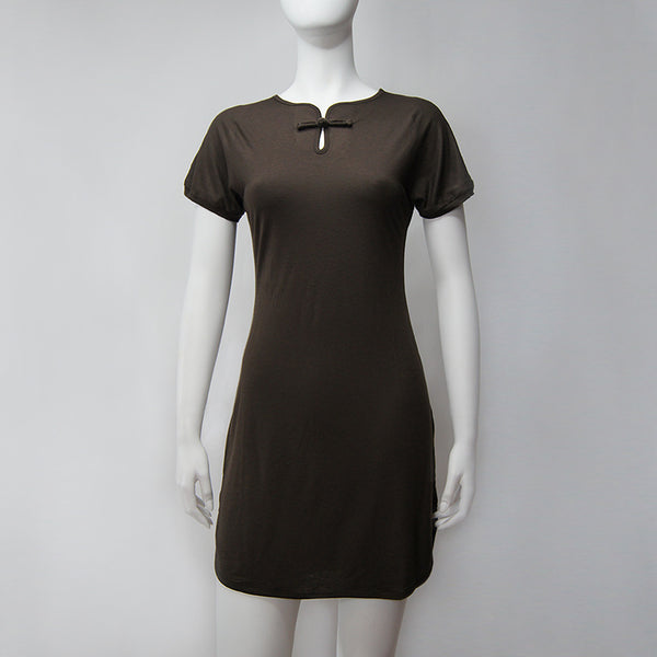 Chinese Button Keyhole dress (Brown)