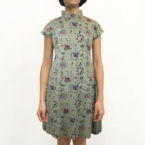 'Retro Garden' Printed Qipao Dress, Mint