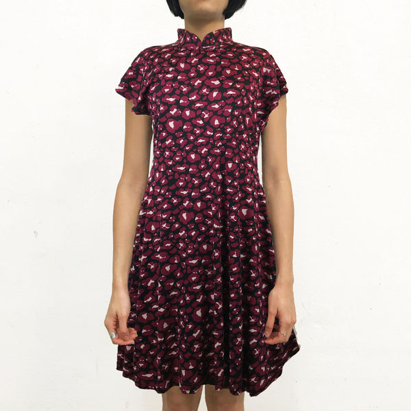 'Rouge Leopard' Printed Qipao Dress