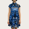 'Blue Random' Printed Qipao Dress