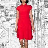 'Red'  Jacquard Qipao Dress