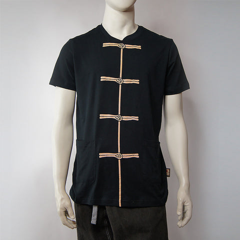 'Chinese Button' print tee (black) - Goods of Desire