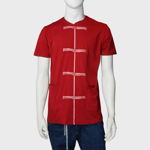 'Chinese Button' print tee (red) - Goods of Desire