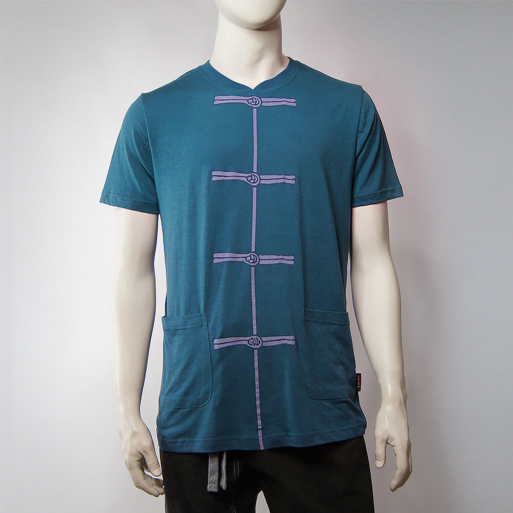 'Chinese Button' print tee (cerulean blue), T-shirt, Goods of Desire, Goods of Desire