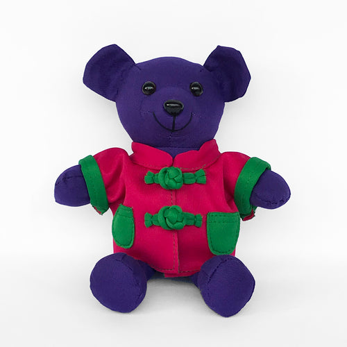 Bear with Fuchsia Chinese Jacket, Purple