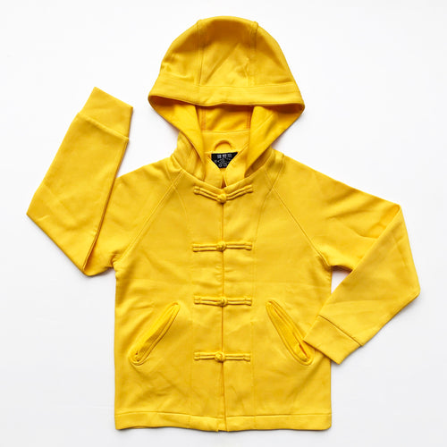 Chinese Collar Hooded Kids Jacket, Yellow
